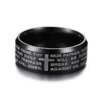 Vnox Мужское кольцо из нержавеющей стали с гравировкой молитвы и креста