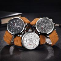 Мужские наручные кварцевые водонепроницаемые часы Benyar с кожаным ремешком