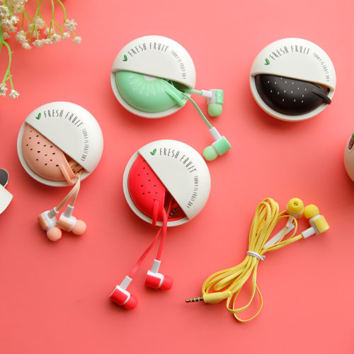 Красивые наушники-вкладыши с микрофоном в чехле fresh fruit для девушек