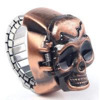 Мужское винтажное кольцо из нержавеющей стали с черепом, внутри которого находятся часы