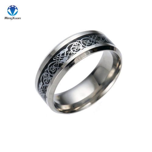Винтажное мужское кольцо из нержавеющей стали с узором