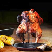 Стойка-держатель с подносом для приготовления курицы гриль