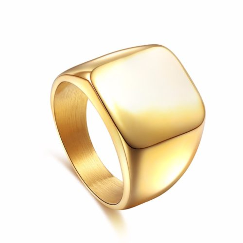 Квадратное мужское кольцо-перстень-печатка из нержавеющей стали