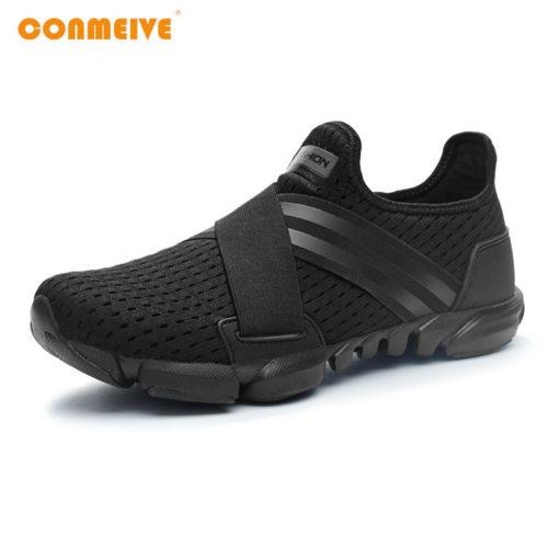 CONMEIVE Мужские спортивные летние дышащие кроссовки на широкую ногу без шнуровки 39-45 размеры