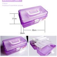 Пластиковый чемоданчик органайзер бокс для хранения и переноски маникюрных принадлежностей (3 размера на выбор)