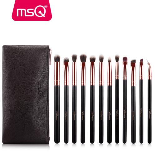 MSQ Набор кистей для макияжа глаз 12 шт. + косметичка