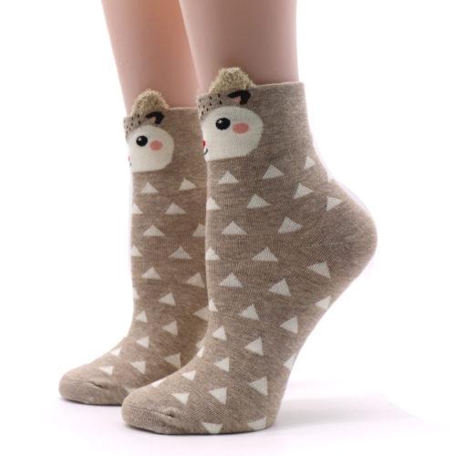 Женские хлопковые высокие теплые мультяшные носки с животными