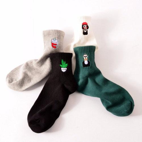 Хлопковые высокие носки с рисунком (Леон, Матильда, пакет молока, сердце, растение, усы и др.)