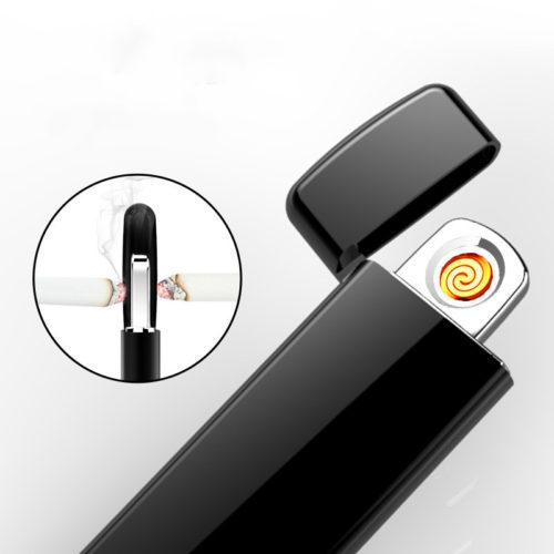 Электрическая ультратонкая сенсорная перезаряжаемая зажигалка со сканером отпечатка пальца с зарядкой от USB