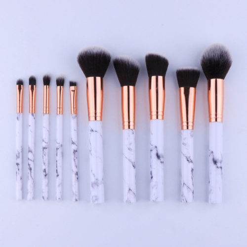 Набор кистей для макияжа с мраморными ручками 10 шт.