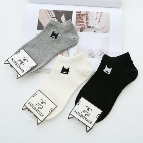 Женские хлопковые короткие черные, серые и белые носки с рисунком кошки 3 пары