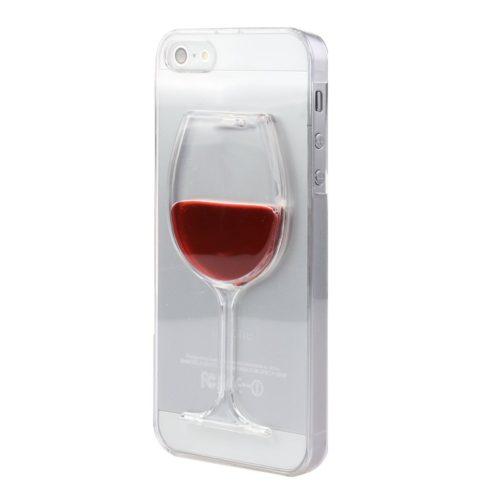 Прозрачный чехол бампер на айфон iphone с бокалом вина (красная жидкость внутри)