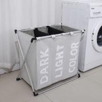 Тканевая складная корзина для белья с 3 отделениями в ванную