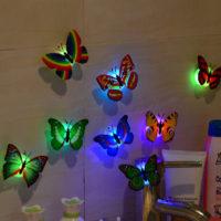 Светящиеся объемные декоративные 3D бабочки наклейки на стену и шторы