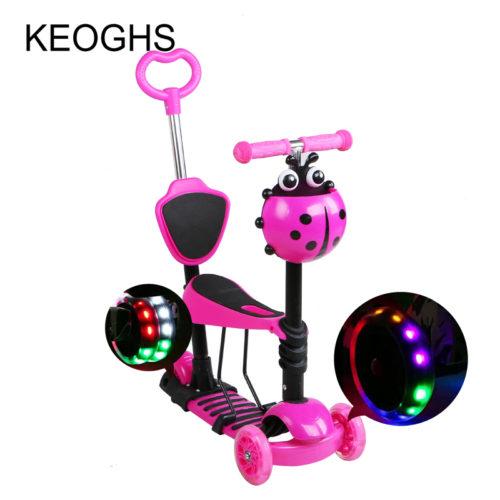KEOGHS Детский трехколесный самокат от 2 лет со светящимися колесами
