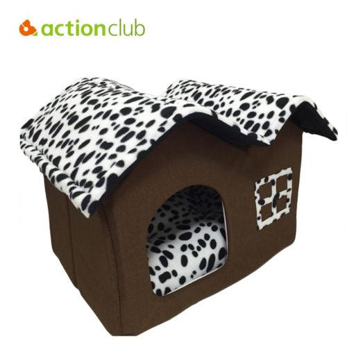 Складной большой коричневый домик-кровать с крышей расцветки Далматинец с подушкой внутри для домашних животных (собак, кошек)
