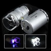 Карманный микроскоп 60X с обычный и ультрафиолетовой подсветкой