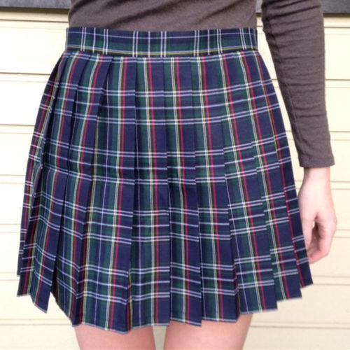 Женская мини юбка-шотландка со складками, в клетку
