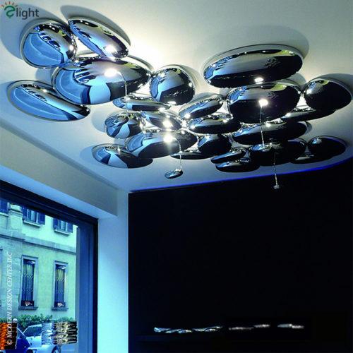 Металлический потолочный светильник в виде зеркальных камней или капель