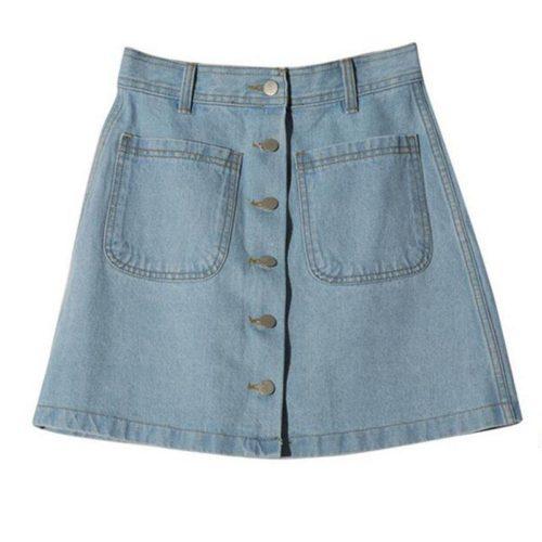 Джинсовая голубая и синяя трапециевидная мини юбка на пуговицах, с карманами