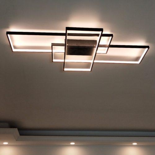 Черный или белый потолочный светодиодный светильник в виде пересекающихся прямоугольников (с пультом дистанционного управления)
