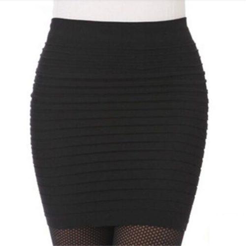 Эластичная плиссированная мини юбка-карандаш