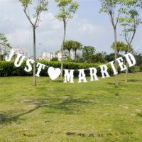 Бумажный белый баннер JUST MARRIED на свадьбу