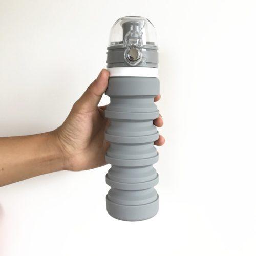 Складная силиконовая бутылка для воды 500 мл
