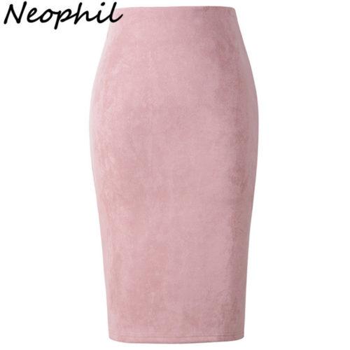Женская юбка-карандаш ниже колена из искусственной замши