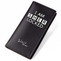Мужской черный кошелек-бумажник с белой надписью I am Sherlocked / Sherlock Holmes