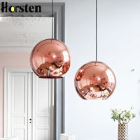 Стеклянный подвесной светильник в виде зеркального шара (золото, серебро, медь)