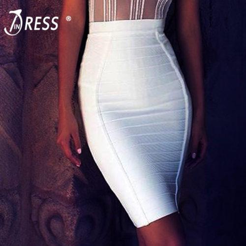 Эластичная юбка-карандаш на завышенной талии ниже колена с полосками