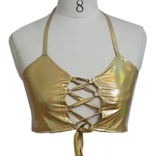 Голографический укороченный кроп топ на шнуровке (золотой и серебристый цвет)