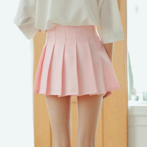 Женская однотонная короткая мини юбка-солнце в складку