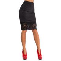 Прямая юбка-карандаш с завышенной талией и широким кружевом внизу