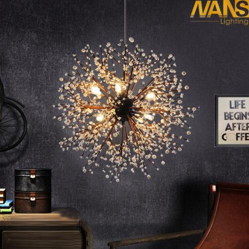 Металлический светодиодный подвесной светильник в виде шара из веток с бусинами
