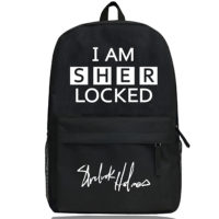 Черный рюкзак с белой надписью I am Sherlocked