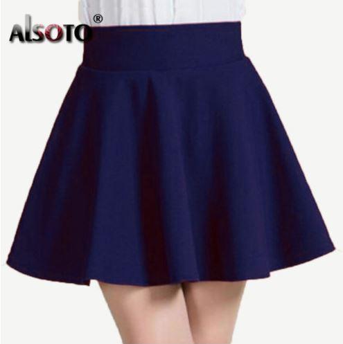 Женская однотонная короткая мини юбка-солнце на резинке-поясе