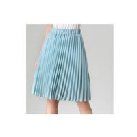 Шифоновая однотонная плиссированная юбка на резинке, до колена, с подкладкой