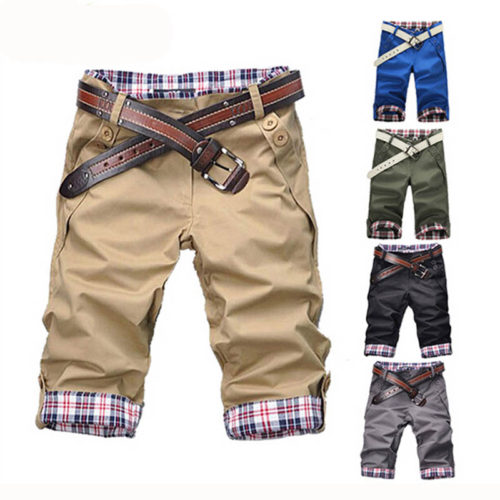 Мужские шорты на молнии с карманами и подворотом