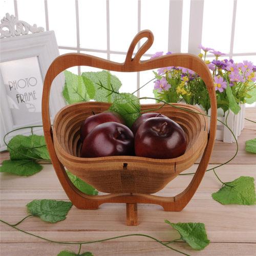 Складная деревянная корзина для фруктов в виде яблока