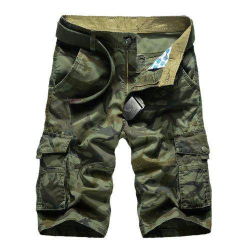 Мужские камуфляжные шорты-карго в стиле милитари с карманами