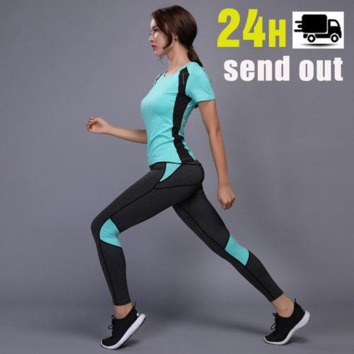 Облегающий женский воздухопроницаемый спортивный костюм для тренировок (леггинсы и футболка)