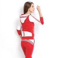 Спортивный женский костюм из брюк и толстовки с капюшоном и длинными рукавами для бега и тренировок на улице