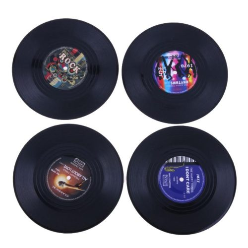 Подставки для кружек в виде виниловых пластинок 4 шт.