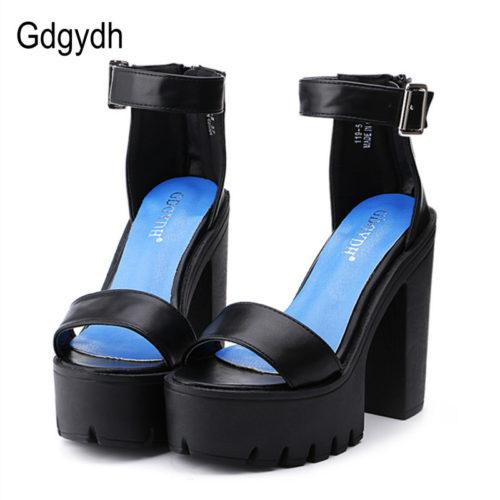 Женские босоножки-туфли с ремешком на высоком каблуке и толстой платформе (черные, белые)