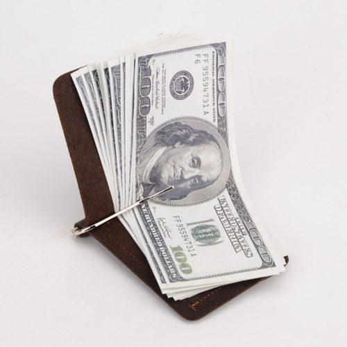 Кошелек из натуральной кожи с зажимом для денег и отделением для монет