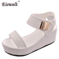 Женские черные и белые босоножки-туфли на толстой плоской подошве