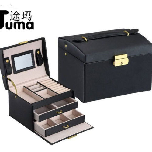 Трёхъярусная кожаная шкатулка чемоданчик с выдвижными ящиками для украшений