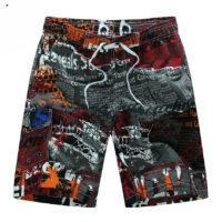 Мужские летние легкие пляжные шорты-бордшорты до колен с принтом